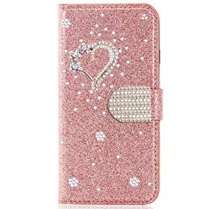 Miagon pour Samsung Galaxy A20 Portefeuille Coque,3D Glitter PU étui en Cuir Diamant Fermoir Magnétique Stand Strass Housse,Cœur Or Rose