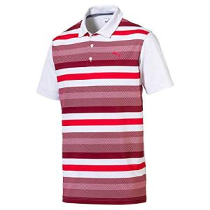 Puma Golf Hommes Turf Stripe Polo de Golf – Bright Blanc/Pomegranate – XL