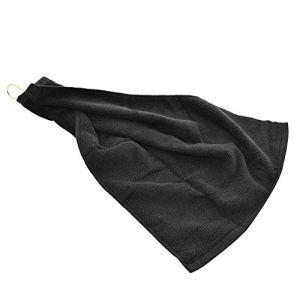 HShyxlkjღ Serviette de golf en coton triple pliage avec clip Blanc 40 x 60 cm, noir
