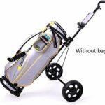 Chariots De Golf Golf Chariots Pliable Tricycle Poussez Chariot de Golf Ballon Panier en Aluminium Chariot avec Frein à Main (Color : Black)