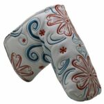 Beehive Filter Golf Flower Embroidered White Blade Putter Head Cover Headcover for Taylormade Titleist Scotty Cameron Ping Mizuno Blade Style Golf Putter