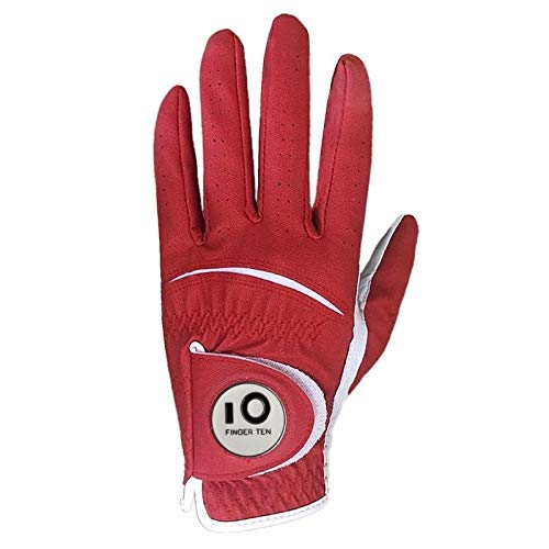 Gant De Golf Hommes Gant de Golf Tous Velcro Météo Stable Grip Gauche Droite Taille Main Small Medium Large XL (Color : Red, Size : M Worn on Right Hand)