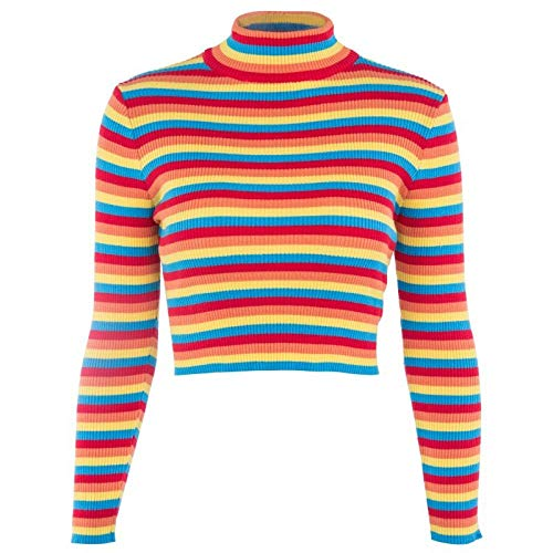 WDDYYBF Pulls Femme,Manches Rondes Neck Rainbow Rayures Pull Pull Tricot Mode Slim Sexy Femmes Élégantes Pull Outfits Tricots Pulls Roulés Et Pulls Pulls Pulls Pulls Colorés, Rainbow, One Size