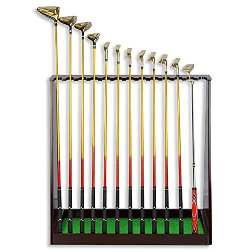 LXFA Support de Club de Golf Étage Organisateur de Présentoir de Club de Golf, Cue 13 Trous pour Terrain de Golf/Practice/Magasin, Bois Massif Support de Stockage D'équipement de Golf
