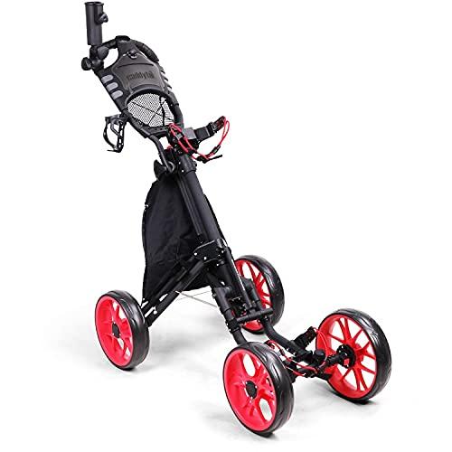 Golf Push Power Chariot, Aluminium léger Colapsible 4 roues Poussette de golf de golf, chariot de golf avec frein à l'étanche et frein à pied, support de tasse et porte-parapluie, poignée réglable en