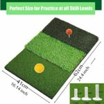 Tapis De Golf Practice Exterieur Interieur Putting D'entraînement avec 3 Pièces en Caoutchouc 2,75 3,0 3,13 Tailles Différentes Pratique Portable Jardin pour hommes (3-In-1 Turf+3 Pcs rubber tees)