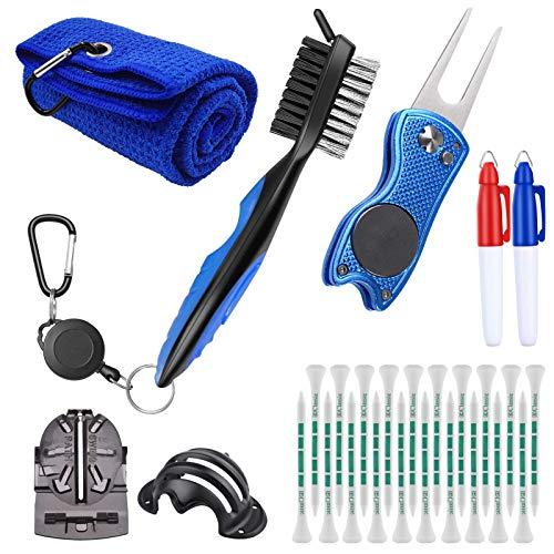 Yumzeco Kit de nettoyage de club de golf pour rainures avec serviette de golf, accessoires de golf avec brosse de nettoyage,outil de marquage de balle de golf, outil de divot de golf pliable