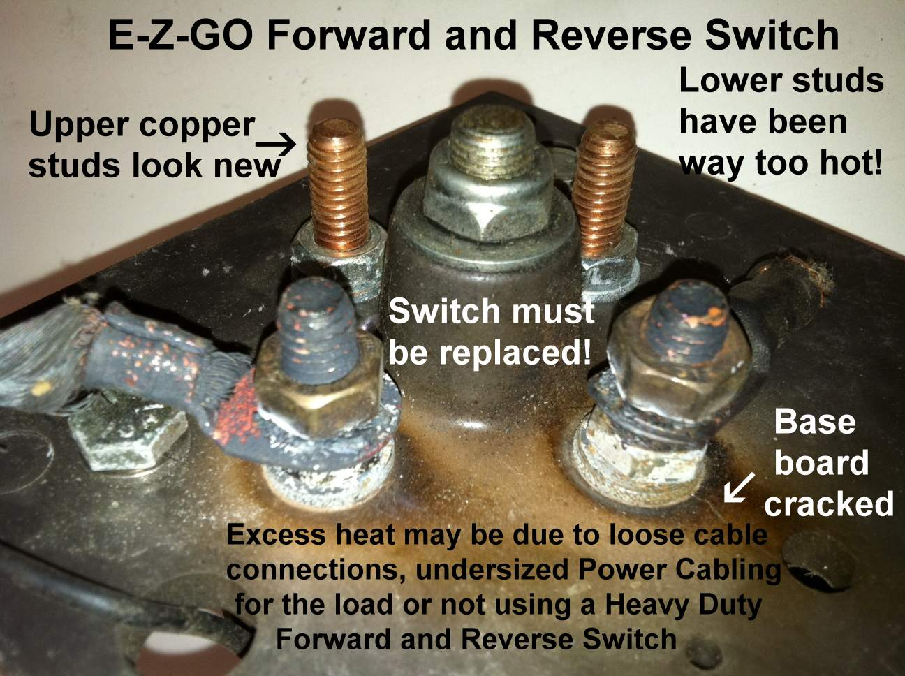 hight resolution of burned ezgo forward reverse switches studs