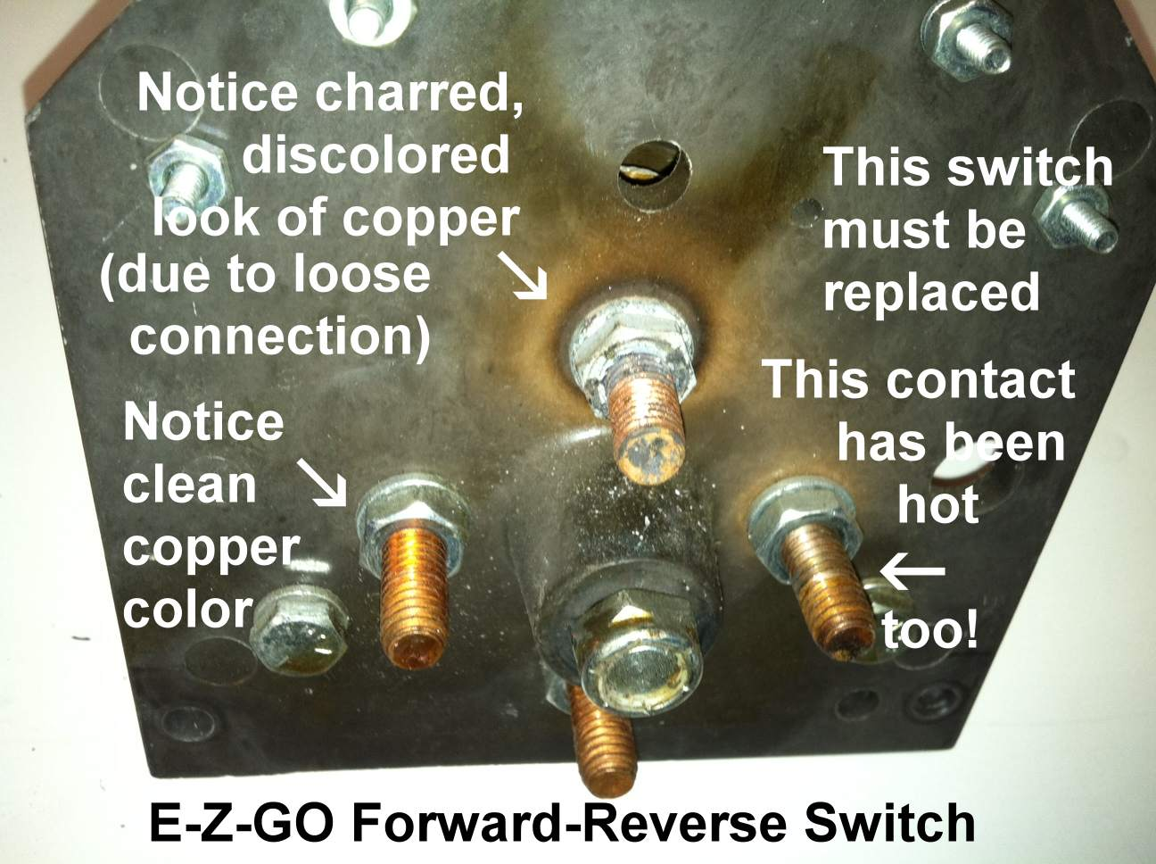 hight resolution of golf cart forward reverse switches a closer look golf cart ezgo key switch wiring diagram burned