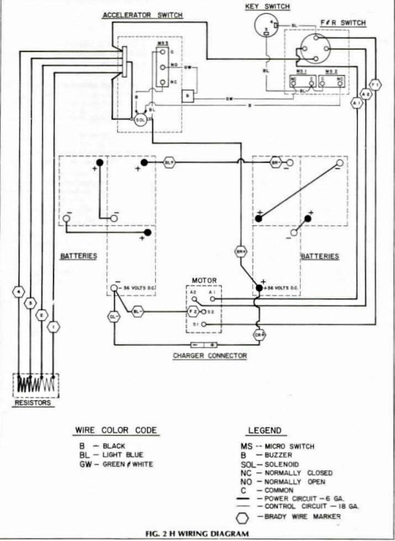 Wiring Diagram For 1981 And Older EZGO Models With Resistor Speed