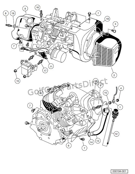 club car golf cart parts diagram 3 single coil pickup wiring engine - fe290 -shrouds and brackets & accessories
