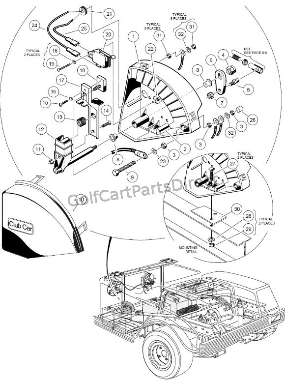 36v club car wiring diagram motor 1998-1999 ds gas or electric - parts & accessories