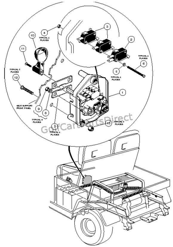 club car golf cart ignition wiring diagram home ac unit forward and reverse switch - powerdrive electric vehicle parts & accessories