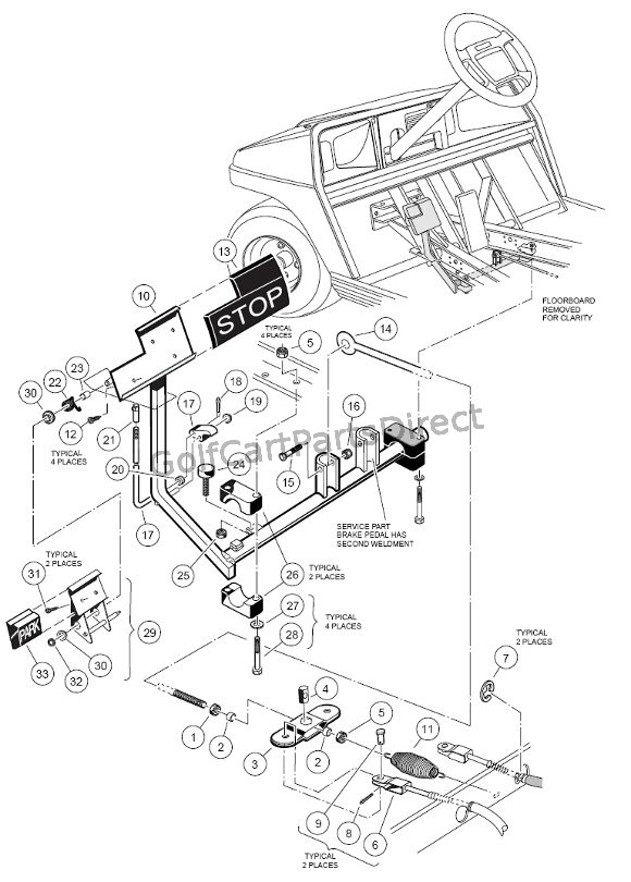 club car golf cart parts diagram 5 ohm wiring brake pedal & cable assembly - accessories