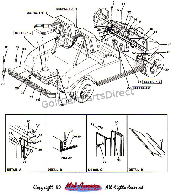 1984 1991 Club Car Ds Electric Golf Cart Parts Direct