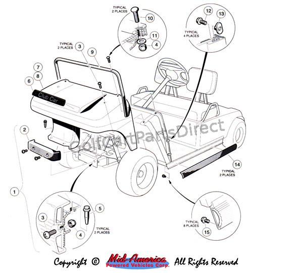 48v Club Car Schematic Diagram 1992 1996 Club Car Ds Gas Or Electric Club Car Parts