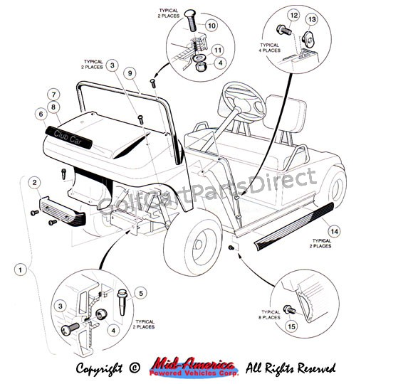 ez go gas golf cart battery wiring diagram ford courier 1992-1996 club car ds or electric - parts & accessories