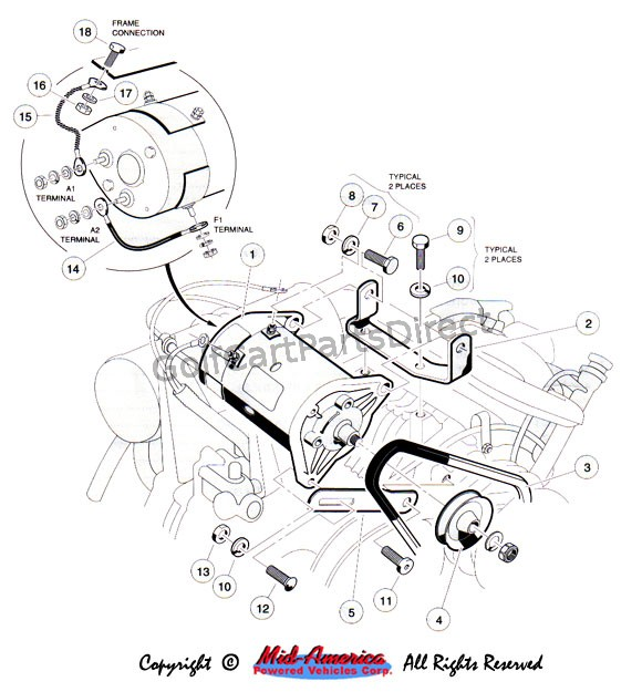 battery wiring diagram for yamaha golf cart mercury 250 optimax starter / generator mount. - club car parts & accessories
