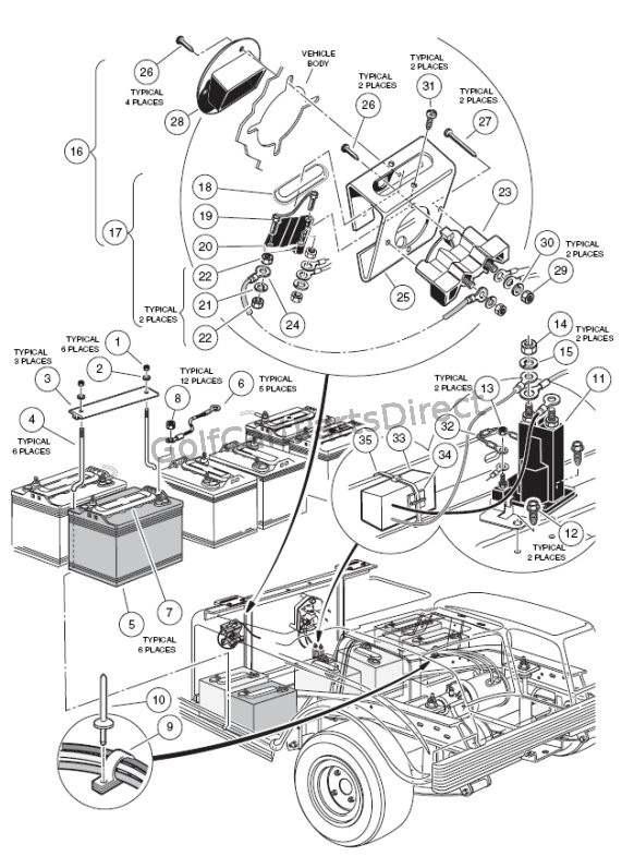Golf Cart Battery Wiring Diagram Charger And Batt Mount 36v Golfcartpartsdirect