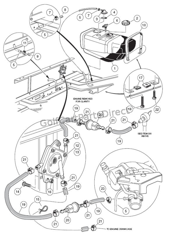 ezgo golf cart fuel system diagram