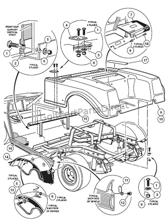 club car golf cart headlight wiring diagram bosch pbt gf30 for 2005 database 2000 ds gas or electric parts accessories 1980