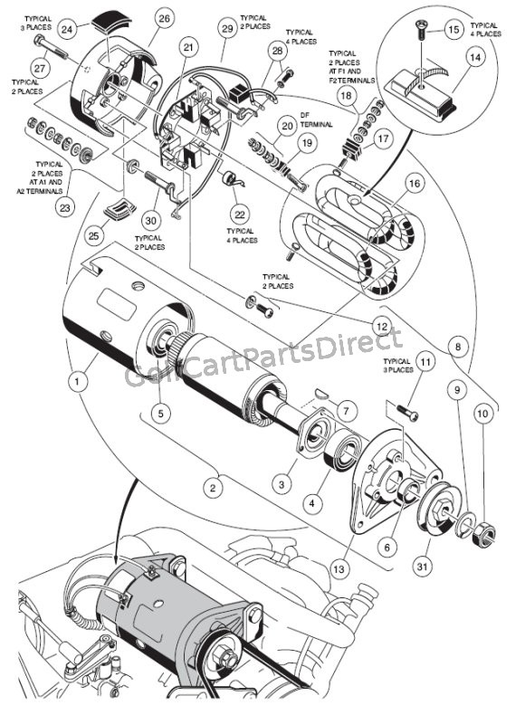 Gas Club Car Golf Cart Starter Generator Wiring Diagram