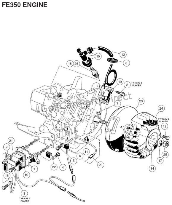 2006 club car precedent electric golf cart wiring diagram ford mustang stereo 2001 radio 2004 2007 gas or parts engine fe350 part 2