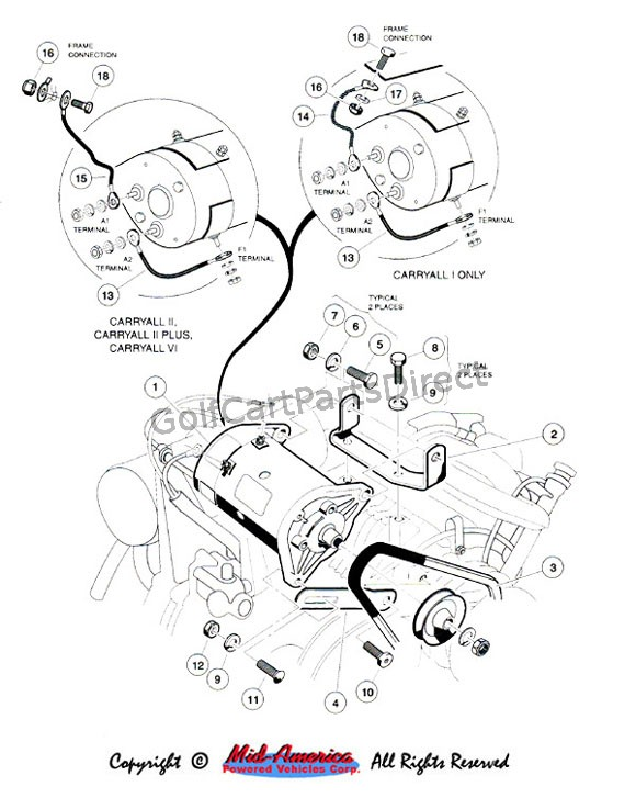 wiring diagram for club car starter generator 4 prong forklift starter/generator mounting - parts & accessories