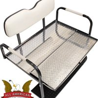 "Ezgo Marathon (Pre-1994) Golf Cart ""All American"" Rear Flip Back Seat Kit - White Cushions - Diamond Plate Deck"