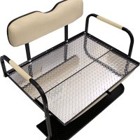 "1995-Up EZGO TXT Golf Cart ""All American"" Rear Flip Back Seat Kit - Tan Cushions - Diamond Plate Deck"