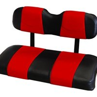 Kool Cushions YAMDRIVE-BKDDRDST-01 -Custom Vinyl Golf Cart Seat Covers Front Only-Black With Daredevil Red Stripe - For Yamaha Drive Golf Cart