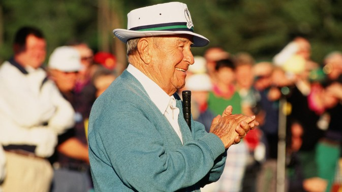 Honorary Starter Gene Sarazen looks on during The 1994 Masters Tournament (Photo by Augusta National/Getty Images)