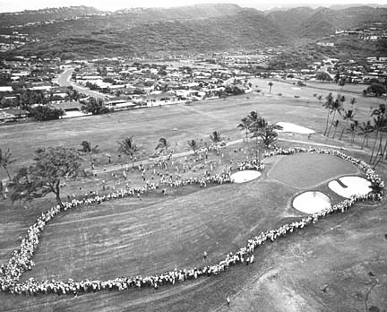 First hole playoff at Hawaiian Open 1965. Brewer's ball at lower left. Goalby's hit coconut tree. SB BW by Jack Titchen.