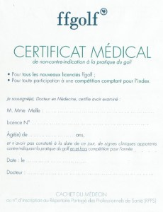 certificat médical golf