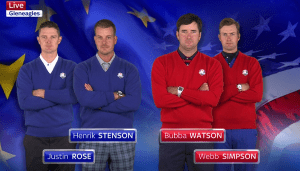 Opening fourball; Stenson & Rose vs Watson & Simpson