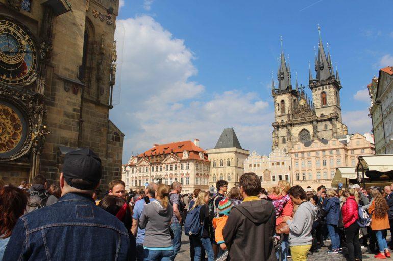Oude stadsplein Praag Tsjechie wereldreis