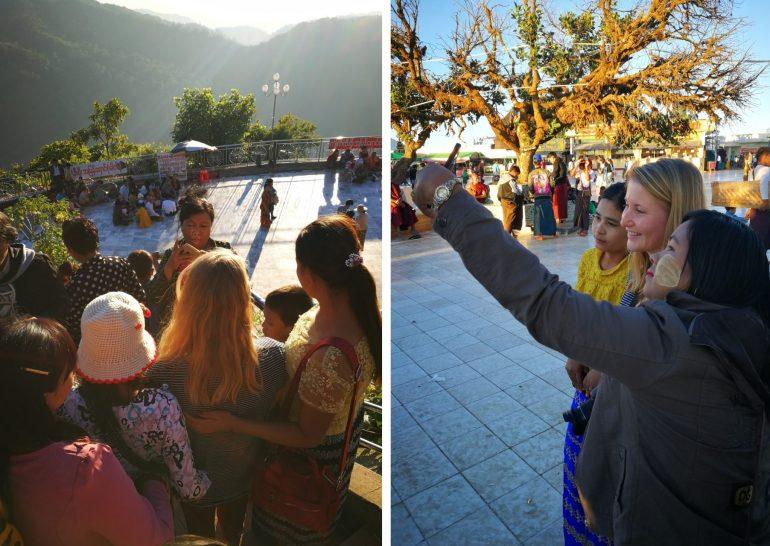 Selfies at Golden Rock Myanmar wereldreis