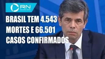 Brasil tem 4.543 mortes por coronavírus e 66.501 casos confirmados