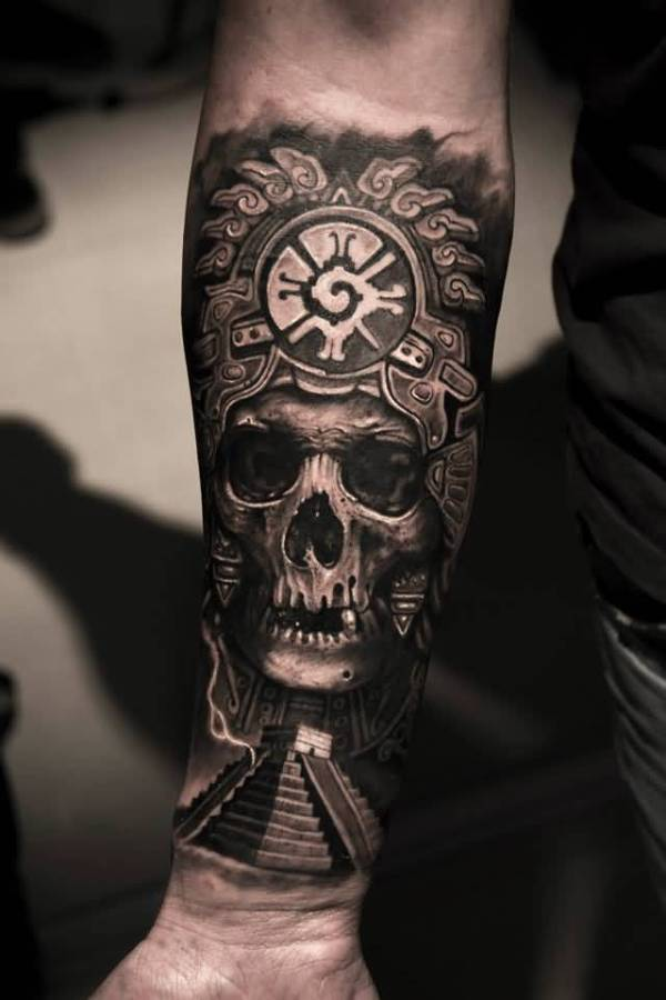 pyramid and skull tattoo