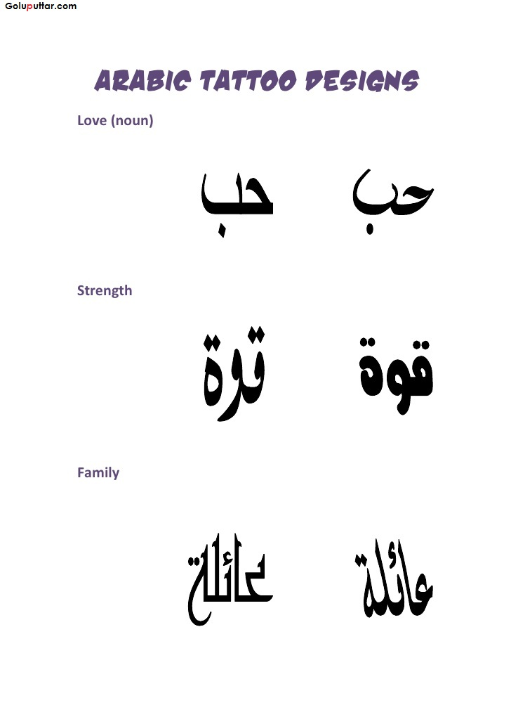 Famous Arabic Letter Tattoo Stencil With Meaning