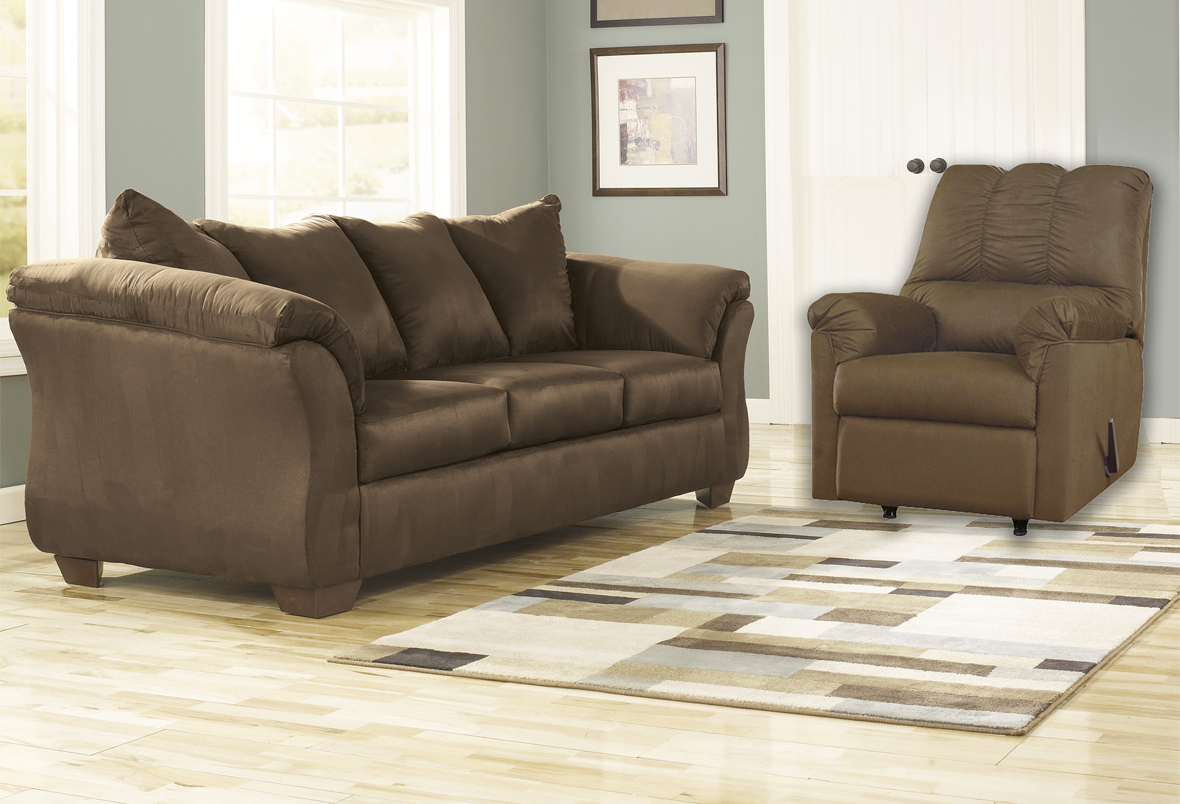broyhill sofa and loveseat brown leather 3 2 1 darcy cafe rocker recliner | majik rent to own
