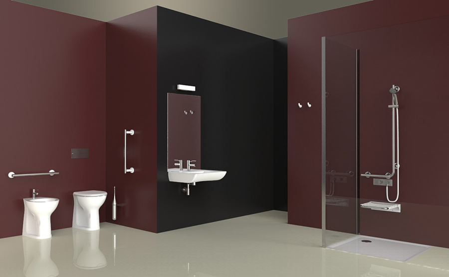 Bathrooms for the elderly grab bars seating taps