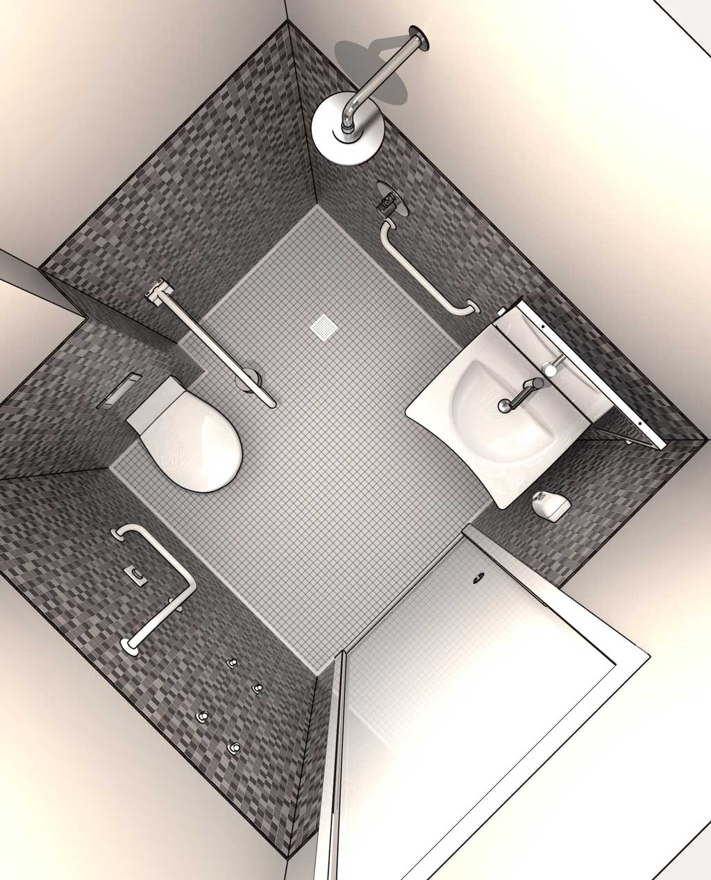 Disabled Bathroom Design DWG drawings in 3D