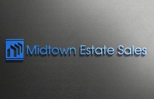 Midtown Estate Sale written in Dodger Blue against a gray textured background. Gradient from left to right.