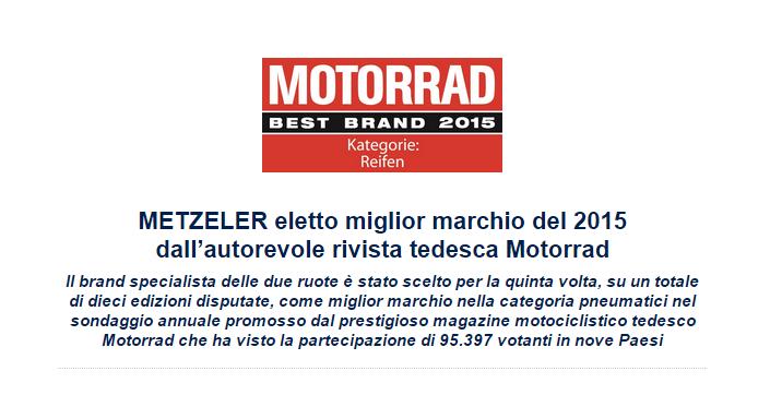 METZELER miglior marchio del 2015 per la rivista tedesca Motorrad