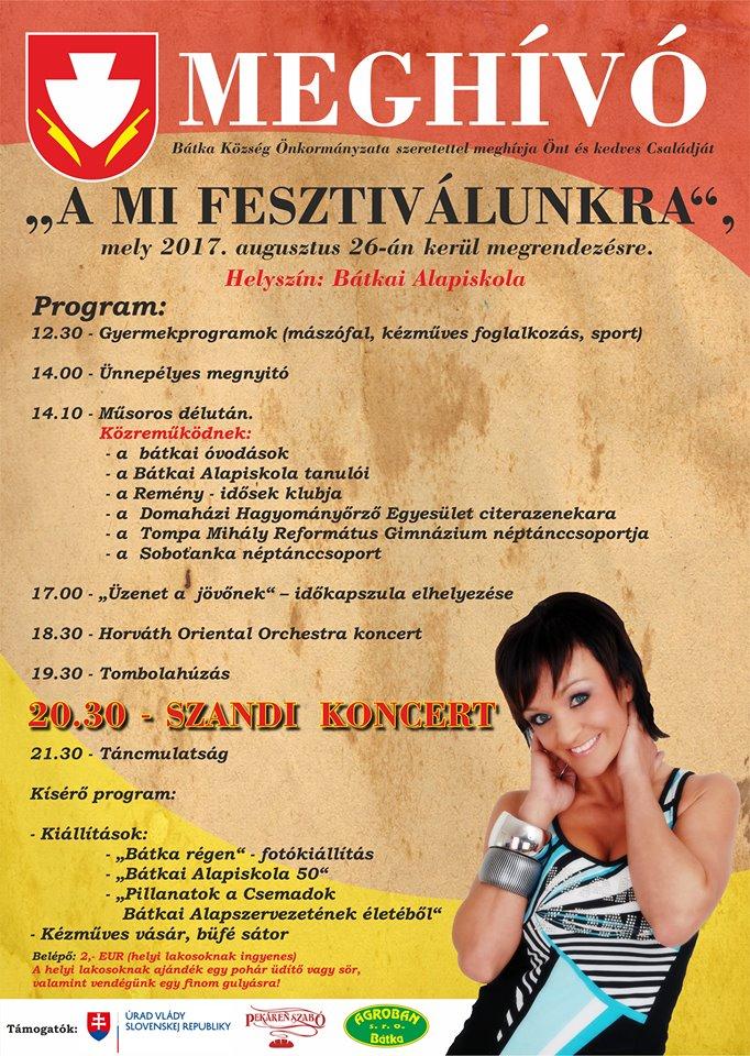 Szandi koncert és fesztivál Bátkában