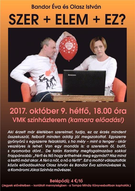 Bandor Éva és Olasz István SZER + ELEM + EZ? című kamaraelőadása