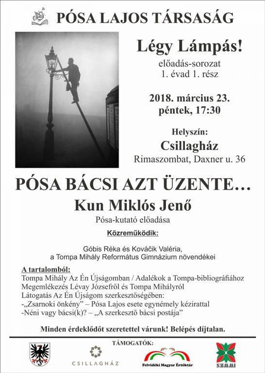 Kun Miklós Jenő Pósa-kutató előadása