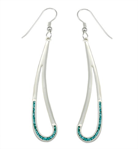 Silver Open Tear Drop Inlaid Earrings • Navajo Arts And
