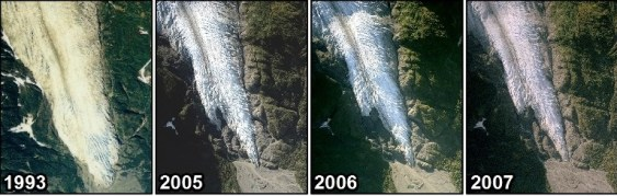 NPS Image of Georeferenced aerial photographs of Exit Glacier taken in 1993, 2005, 2006 and 2007.